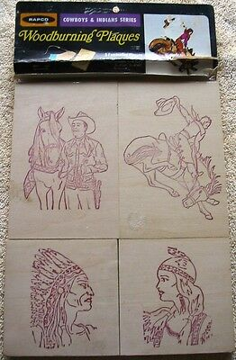 Rapco Five Woodburning Plaques NEW Cowboys and Indians Theme