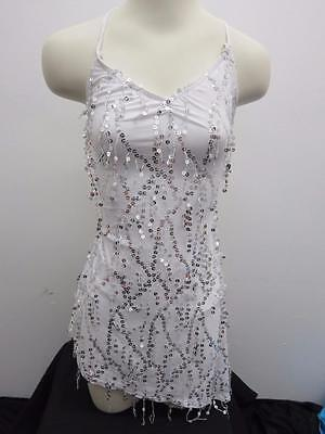 Dance Costume Small Adult White Silver Sequin Fringe Dress Jazz Solo Competition