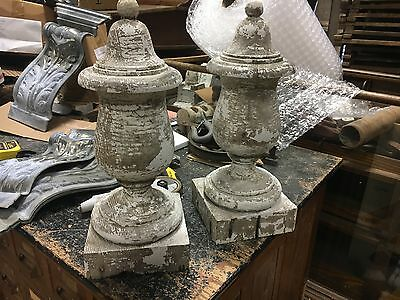 """AMAZING pair of c1910-20 wooden fence post finials 18.5"""" tall x 7.25"""" square"""