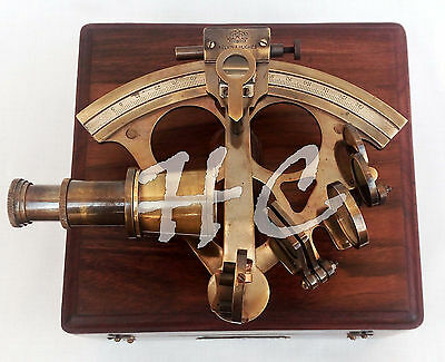 Brass Ship Sextant With Hardwood Box Working Astrolabe Nautical Marine Sextant