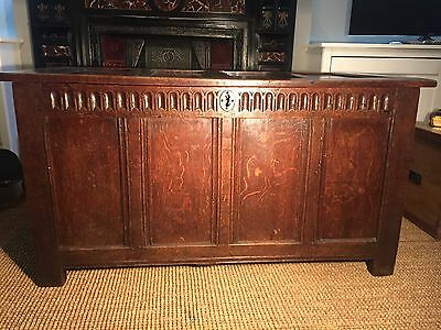 Antique English Oak Plank Coffer/chest Charles Ii 17Th Century Trunk