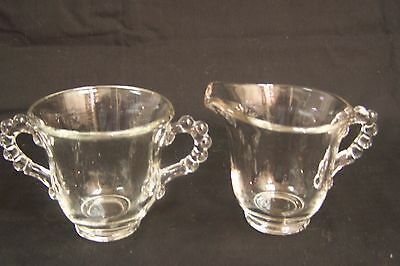 Vintage IMPERIAL GLASS CANDLEWICK Large Cream and Sugar
