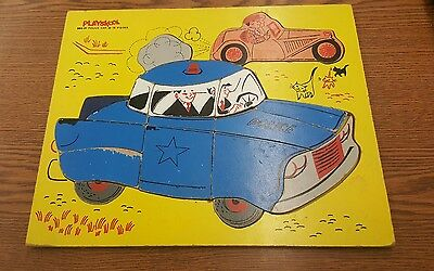 VTG Playskool Police Car Wood Puzzle Inlaid Tray 18 Piece 360-21