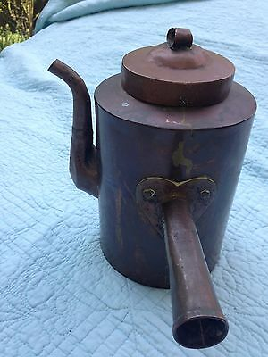 Antique Primitive Goose Neck Spout Copper Tea Pot