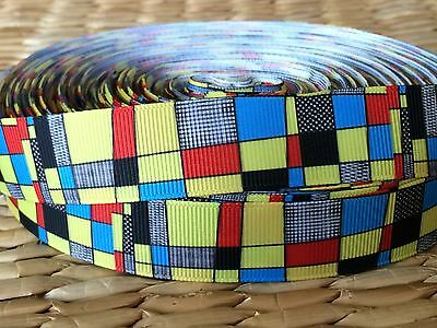 """1, 3 or 5 yards ABSTRACT ART inspired 7/8"""" grosgrain ribbon- BUY MORE and SAVE"""