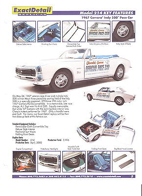 Exact Detail Model 214 (1967 Camaro Indy 500 Pace Car) Key Features Sheet