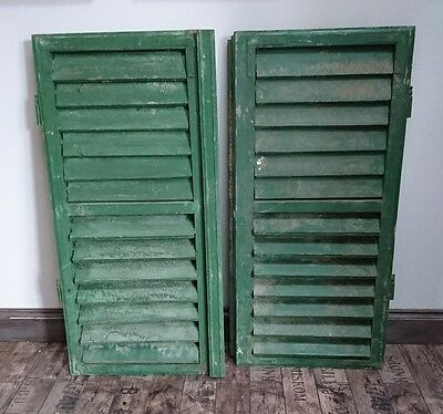 Vintage Wooden Hungarian / French Shutters Rustic Window Shutters Pair Original