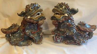 Large Pair Of Chinese Foo Dogs Handpainted  On The Tradition