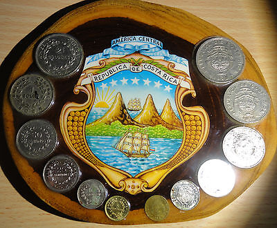 Costa Rica  ~12 Coins on a Wooden Plaque ~ Combined S.& H.
