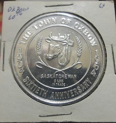 1964 The Town Of Oxbow,Sask,Canada 60th Anniversary~So-Called Dollar/Token/Medal