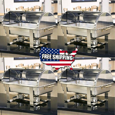 4 PACK Roll Top Deluxe Full Size 8 Qt Stainless Steel Buffet Chafer Chafing Dish