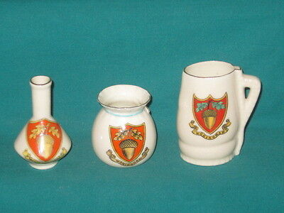 3 Goss / Crested Pieces - all WOKINGHAM crest