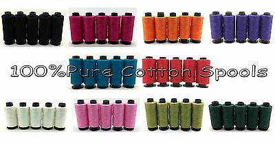 New 5 x 100% Pure Cotton Sewing Thread Spools Assorted Colours