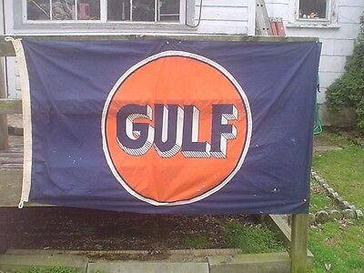 Large Vintage 6'x4' Gulf Nylon Banner Gas Sign