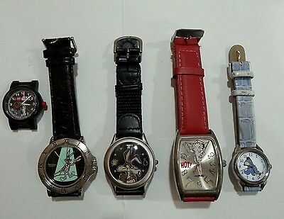 """Warner Bros./disney Wristwatch Lot (5) Wile E Coyote """"the Bomb"""", Bugs Bunny+"""