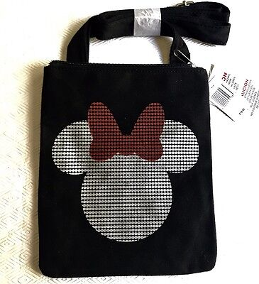 Disney Parks Minnie Mouse Icon Black Canvas Letter Carrier Crossbody Bag - NEW