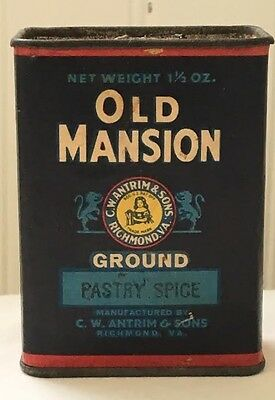 Vintage Old Mansion Ground Pastry Spice Tin 1 1/2 oz.