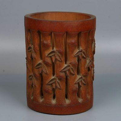 Chinese Exquisite Hand-Carved Bamboo Hollow Pen Holder/Brush Pot