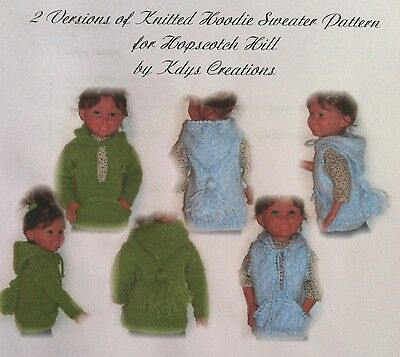"""2 Versions of a knitted hoodie sweater for 16/"""" Hopscotch Hill American Girl Doll"""