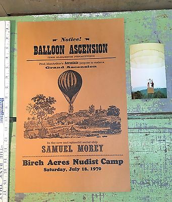 Vintage Promotional Poster & Post Card, Hot Air Balloon Flight Nudist Camp 1970