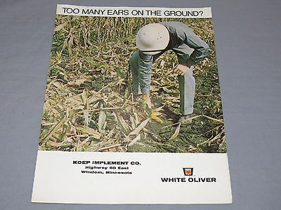 original 1970 OLIVER White Combine Sales Brochure TOO Many Ears on Ground