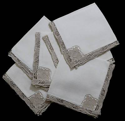 Vintage set of 6 cream lace trim square napkins measuring 44cm