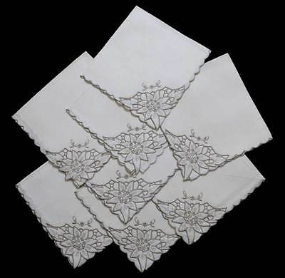 Vintage set of 8 cream embroidered cutwork square napkins measuring 44cm