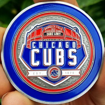 PREMIUM MLB Chicago Cubs Wrigley Field Poker Card Protector Coin CUBS WIN NEW
