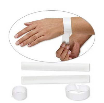 """10 SLAP ON Wristband Blanks 1"""" White SNAP on Bracelets DECORATE YOUR OWN"""