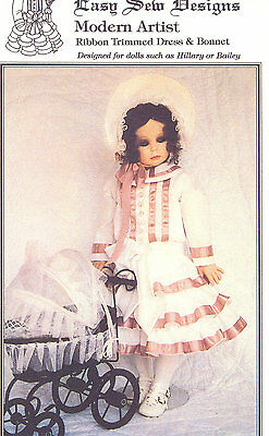 Ribbon Trimmed Dress and Bonnet Doll Pattern  BHD 1390