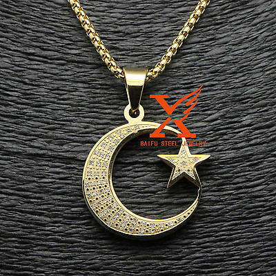 "Allah Muslim Islamic Crescent Moon and Star Charm Pendant 24"" 3MM Box Chain"