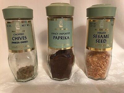 Vintage Lot of 3 MCCORMICK Glass SPICE Bottle JARS Green Lids