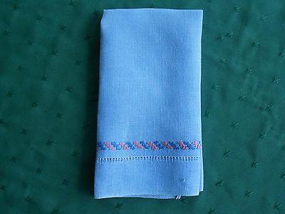 Blue Linen Towel With Pink And Blue Hand Embroidery, Vintage 1930