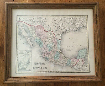 Antique Map 1873 GRAY'S ATLAS MEXICO TERRITORY and ISTHMUS of TEHUANTEPEC FRAMED