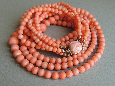 Natural NO DYE Coral Three Strand Beaded Necklace 12k Gold Clasp 47 Grams