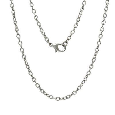 62cm Silver Tone Lobster Clasp Link Chain Necklace