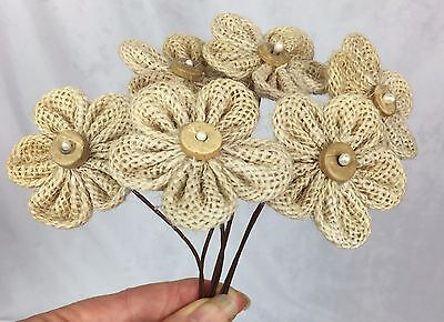 6 Burlap Flowers w Wood & Pearl Centres. Scrapbooking, Cake Decorating, Weddings