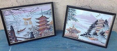 2 Vintage Japan Wall Art Pictures Embroidered Silk Thread Mt Fuji Japanese Scene