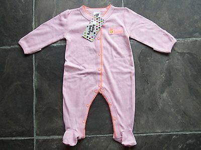 BNWT Baby Girl's Pink & Orange Cotton Knit Coverall/Onesie/Sleeper Size 000
