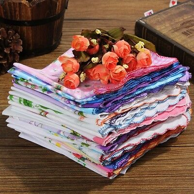 50x Various Flower Handkerchiefs Vintage Hankies Floral Lady Women Style Cotton