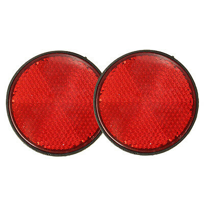 2pcs Round Red Reflector Universal For Motorcycle ATV 5.6*0.8cm I4S3