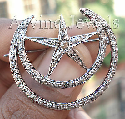 Victorian 1.75ct Rose Cut Diamond Star Half Crescent Moon Awesome Cute Brooch