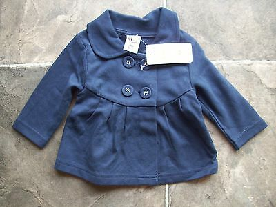 BNWT Baby Girl's Target Navy Cotton Knit Lightweight Jacket/Coat Size 000