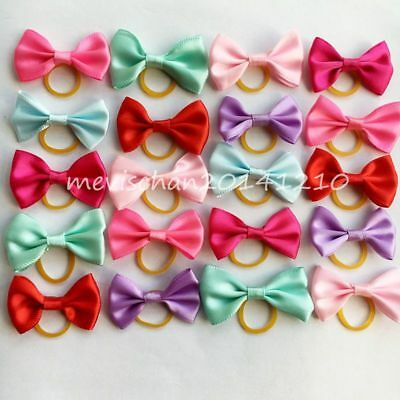100PCS/lot Wholesale hair rubber bands colorful Dog Puppy cat Pet Bow Grooming