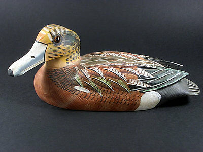 Genuine Vintage Folk Art Decorative Wooden Duck Hand Carved And Hand Painted
