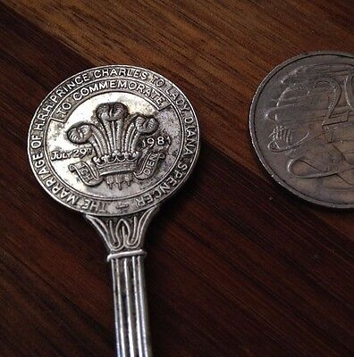 Marriage Prince Charles & Lady Diana Commemorative Silver Plated Teaspoon  1981