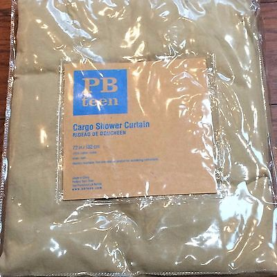 Pottery Barn Teen Cargo Shower Curtain Pockets Khaki Fabric New In Package