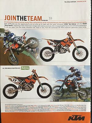 "KTM 125SX / 450SX # 2005 MODELS # ORIGINAL MOTORCYCLE ADVERT # 11"" x 8"""