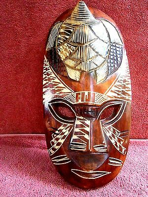 Vintage   Hand  Carved  Wood  Fijian  Wall  Face  Mask