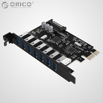 ORICO 7 Port USB 3.0 HUB w/ 15Pin SATA Power Supply PCI-e Express Expansion Card